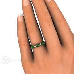 Chrome Tourmaline Band on Finger Stacking Ring Rare Earth Jewelry