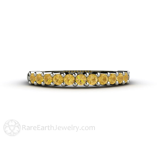 Round Cut Citrine Stacking Ring Anniversary or Right Hand Stackable Band Rare Earth Jewelry