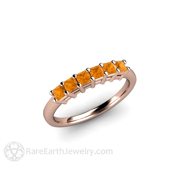 6 Stone Princess Cut Natural Citrine Ring Rose Gold Band Rare Earth Jewelry