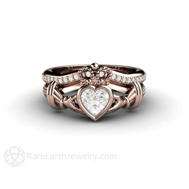 Claddagh Ring Irish Bridal Set Rose Gold by Rare Earth Jewelry
