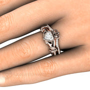 Claddagh Ring on Hand Cladagh on Finger by Rare Earth Jewelry