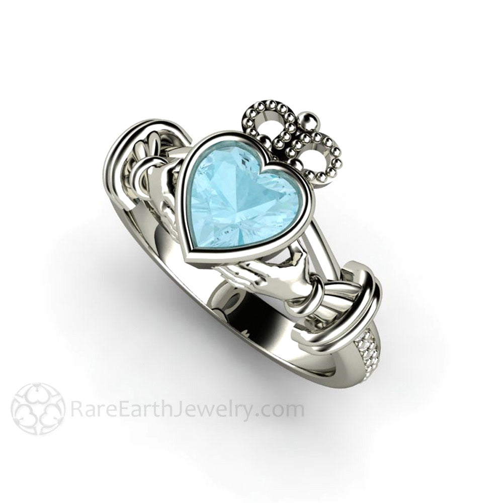 Rare Earth Jewelry Aquamarine Claddagh Ring with Diamonds 14K or 18K Gold