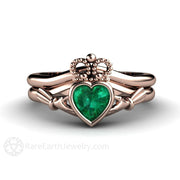 Rose Gold Bezel Emerald Claddagh Wedding Band Set Rare Earth Jewelry