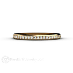 Classic 14K Yellow Gold Diamond Wedding Ring Rare Earth Jewelry
