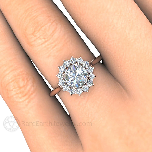 Rare Earth Jewelry Round Cut 1ct Diamond Bridal Halo Ring on Finger