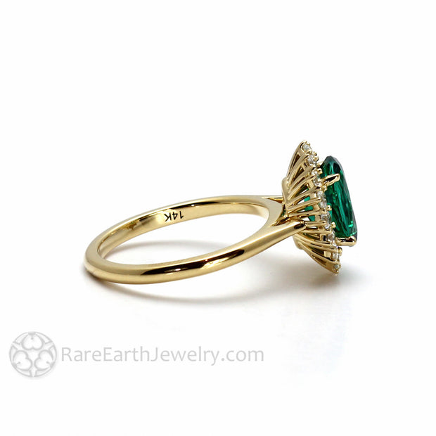 Rare Earth Jewelry Oval Emerald Ring with Diamond Accent Stones