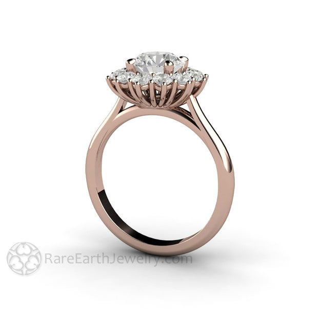 Rare Earth Jewelry Cluster Halo Moissanite Wedding Ring Forever One Colorless 18K Rose Gold