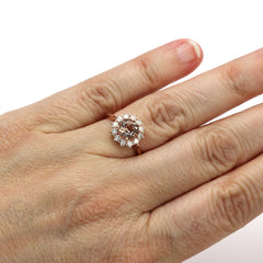 Morganite Halo Ring on Finger Rare Earth Jewelry