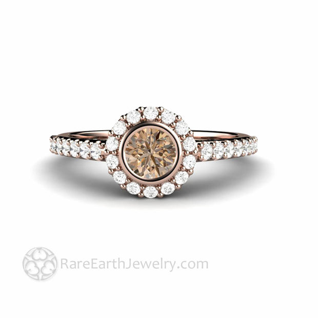 Cognac Brown Diamond Engagement Ring Round Bezel Set Halo in Rose Gold