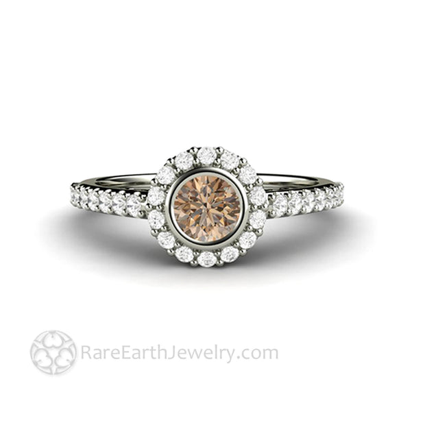 Cognac Brown Diamond Halo Engagement Ring Petite Pave Bezel Setting