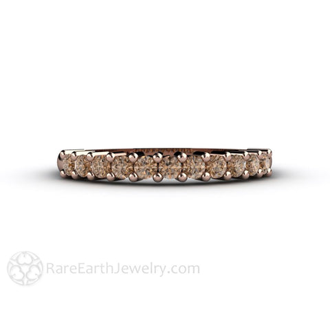 Cognac Brown Diamond Wedding Ring Anniversary Band or Stacking Ring