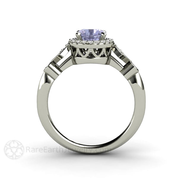 14K Art Deco Style Color Change Sapphire Halo Engagement Ring Round Cut Rare Earth Jewelry