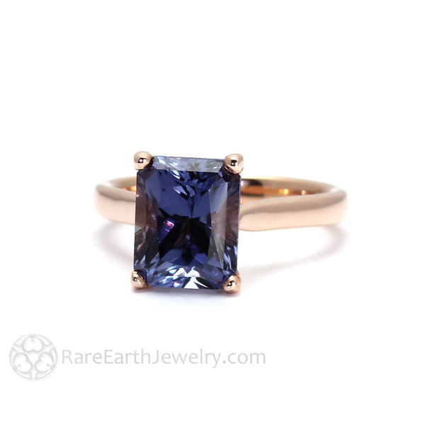 Rare Earth Jewelry Sapphire September Birthstone Ring or Anniversary Emerald Cut 14K Rose Gold
