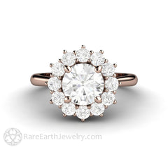 Rare Earth Jewelry Forever One Moissanite Wedding Ring Round Cut Colorless Rose Gold Cluster Halo Setting