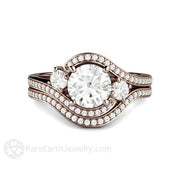 Rare Earth Jewelry Diamond Halo Wedding Set Rose Gold