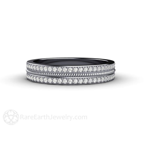 Double Pave Diamond Wedding Ring or Anniversary Band with Rope Detail