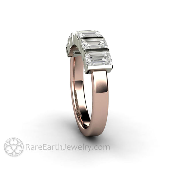 Side View of Moissanite Ring with Emerald Cut Stones