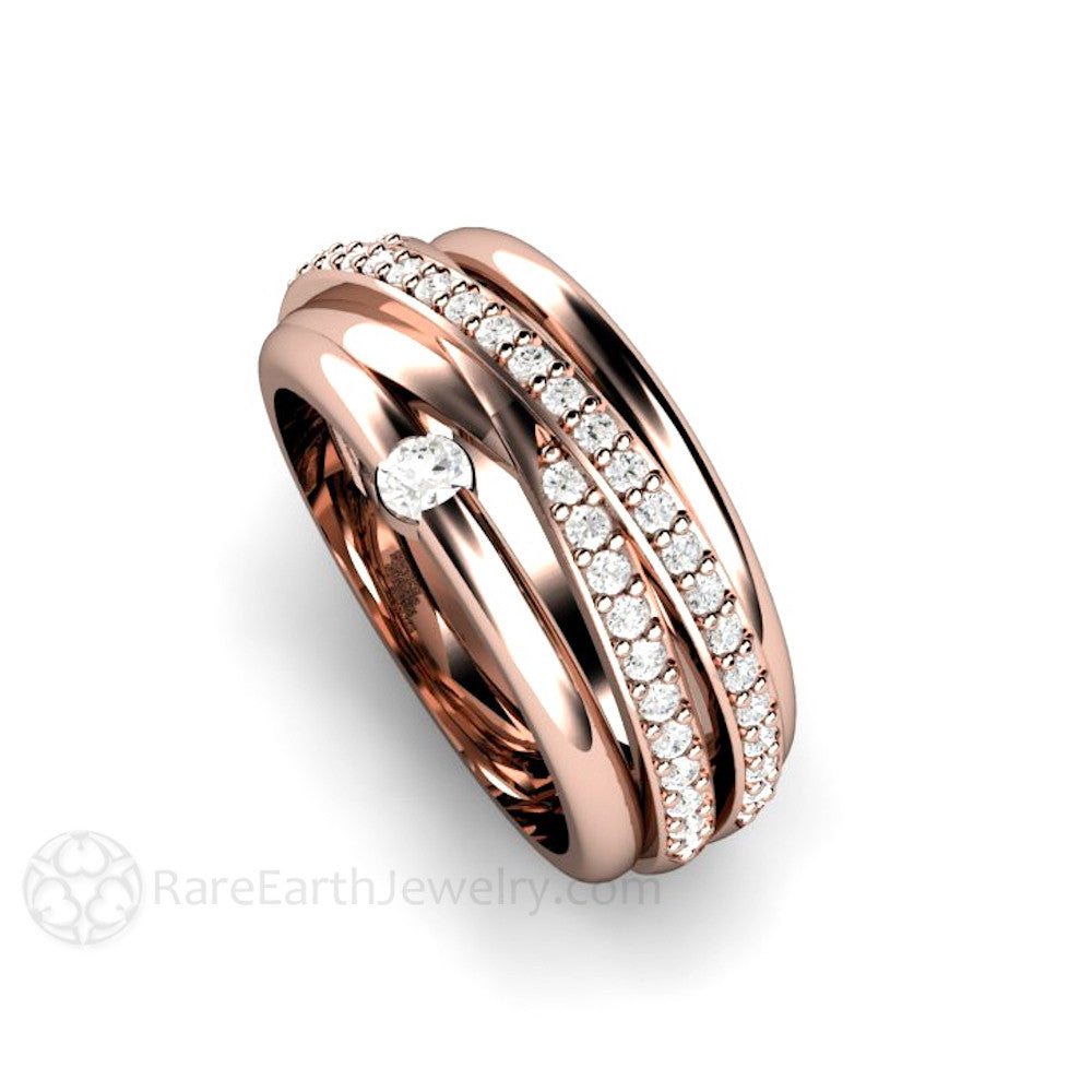 Rare Earth Jewelry 14K Rose Gold Multi Stack Diamond Band Criss-Cross