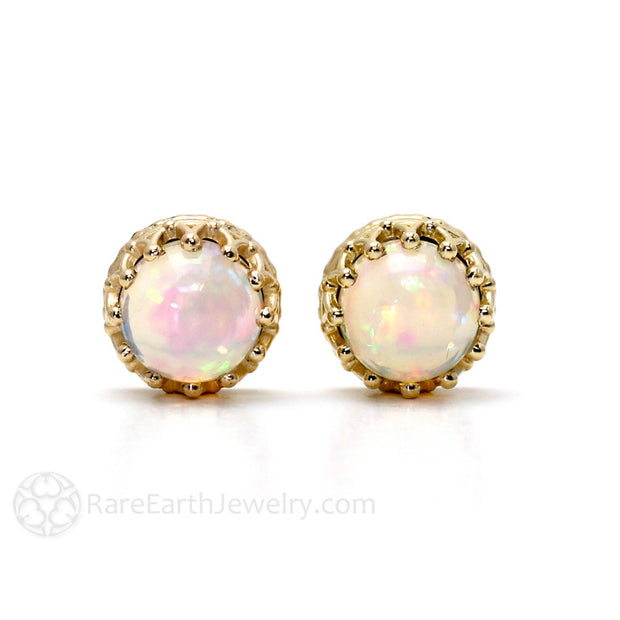 Crown Cabochon Opal Earrings 14K Gold Rare Earth Jewelry