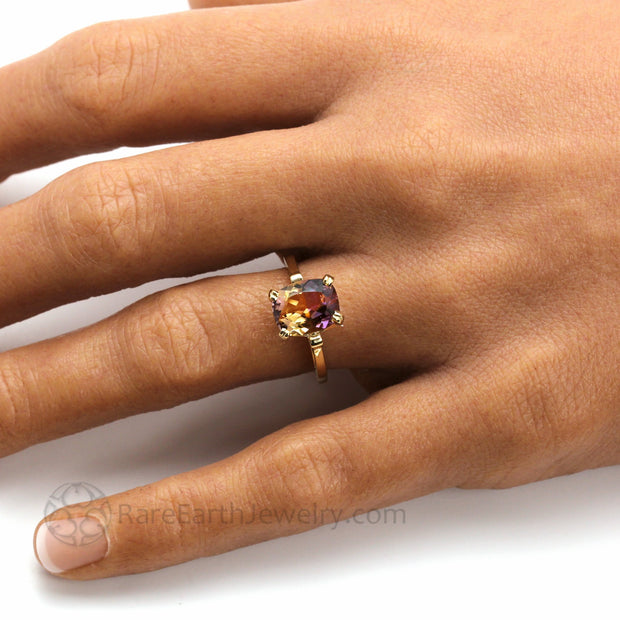 Cushion Cut Ametrine Ring Purple and Yellow Natural Stone on the Hand