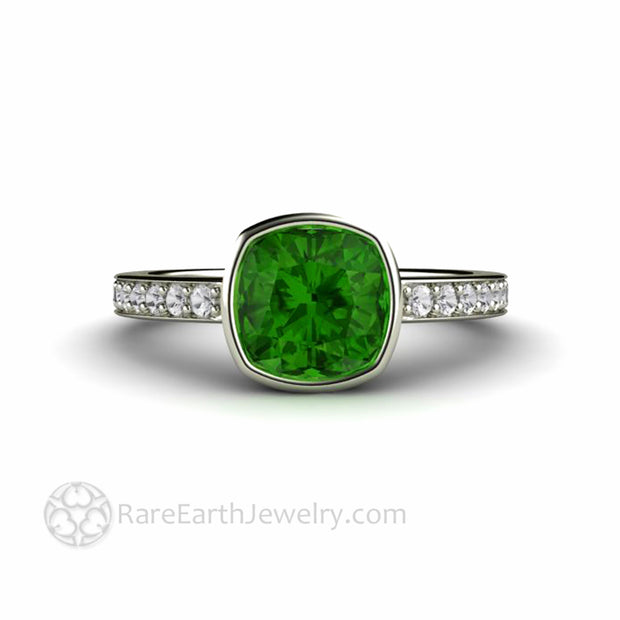 Cushion Cut Green Tourmaline Bezel Set Ring Diamond Accented Solitaire Setting Custom Made by Rare Earth Jewelry