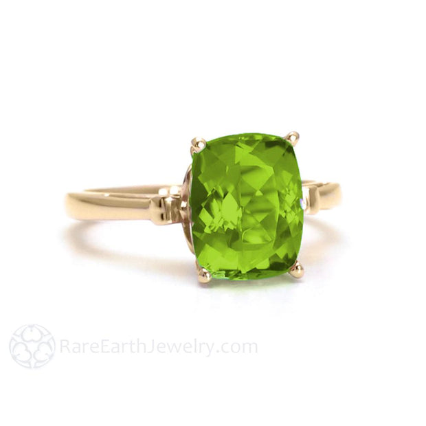 Peridot Ring with 3 Carat Cushion Cut Natural Peridot in a Solitaire Setting with a Fleur de Lis Design in Yellow Gold August Birthstone