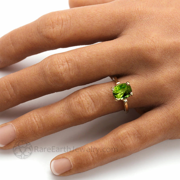 Cushion Cut Peridot Ring on the Hand 3ct Natural Green Gemstone August Birthday Gift
