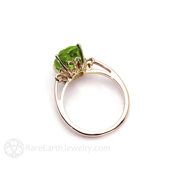 Fleur de Lis Ring with Natural Peridot Gemstone in Gold