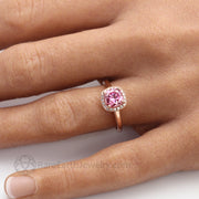 Pink Moissanite Engagement Ring Cushion Cut Petite Diamond Halo