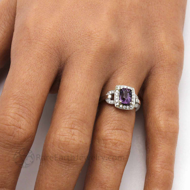 Hand Shot of Vintage Style Engagement Ring with Purple Spinel