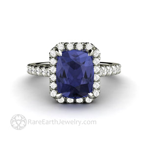 Cushion Cut Tanzanite Engagement Ring Pave Diamond Halo with claw shaped prongs