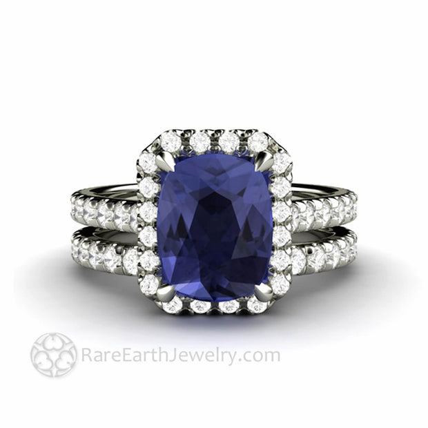 Cushion Cut Tanzanite Engagement Ring Wedding Set Pave Diamond Halo