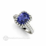 Cushion Cut Tanzanite Ring With Diamond Halo and Claw Shaped Prongs