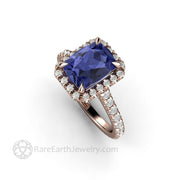 Cushion Cut Tanzanite Ring in Rose Gold with Diamonds