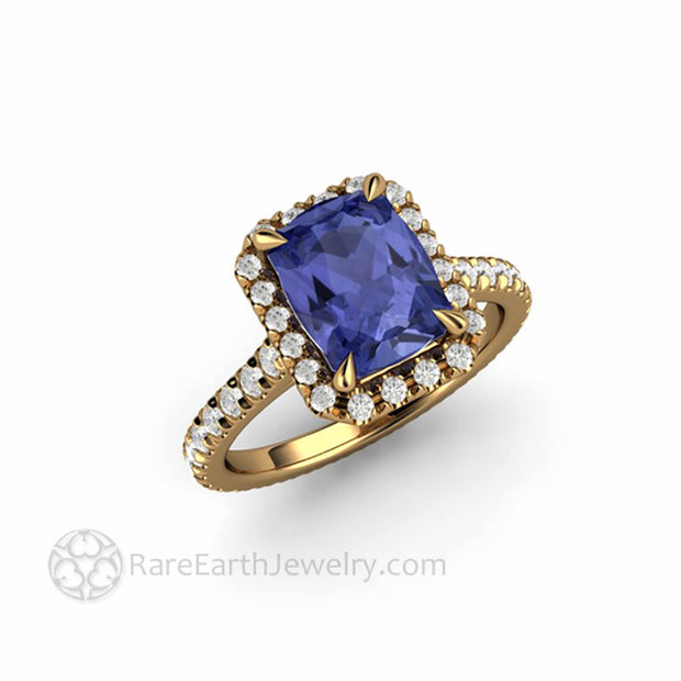 Cushion Tanzanite Ring in 18K Yellow Gold with Diamonds