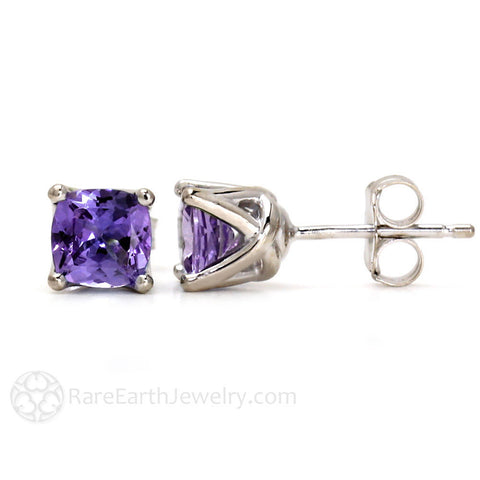 Cushion Amethyst Stud Earrings in 14K Gold February Birthstone