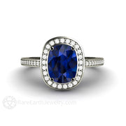 Rare Earth Jewelry Cushion Blue Sapphire Engagement Ring 14K or 18K Gold with Diamond Accent Stones