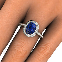 Rare Earth Jewelry Cushion Cut Blue Sapphire Right Hand Ring on Finger Diamond Accent Stones