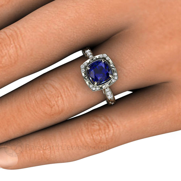 Cushion Blue Sapphire Halo Right Hand Ring on Finger Vintage Style Rare Earth Jewelry