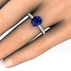 Cushion Cut Sapphire Solitaire Ring on Finger Rare Earth Jewelry