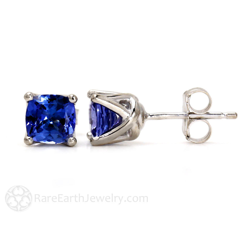 Cushion Cut Blue Sapphire Studs 14K Gold Rare Earth Jewelry