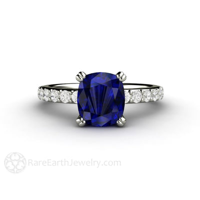Cushion Blue Sapphire Engagement or Anniversary Ring Rare Earth Jewelry