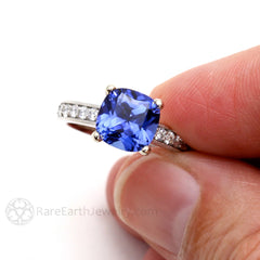 September Birthstone Ring Blue Sapphire 14K 3ct Cushion Cut Conflict Free Diamonds