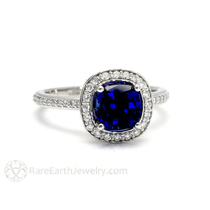 Rare Earth Jewelry Blue Sapphire Engagement Ring Cushion Cut with Diamonds 14K Gold