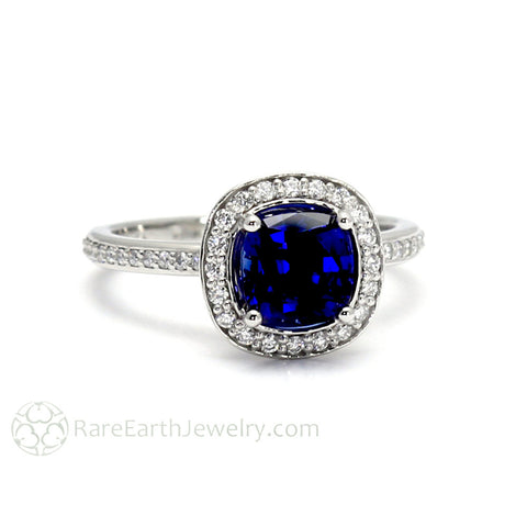 Blue Sapphire Engagement Ring Cushion Halo with Diamonds