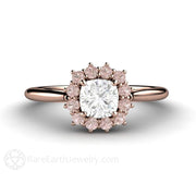 Rare Earth Jewelry Pink Diamond Engagement Ring Cushion Cut Center Stone GIA