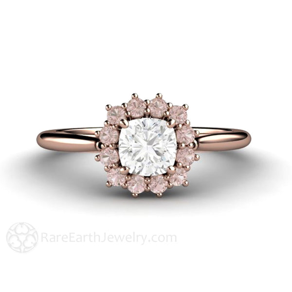 Cushion Cut Diamond Ring with Pink Diamond Halo GIA Certified