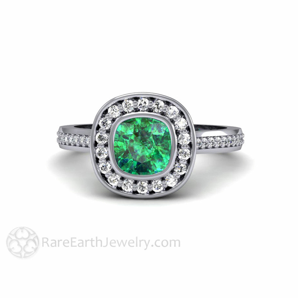 Rare Earth Jewelry Emerald Halo Engagement Ring Bezel Set Cushion with Diamonds
