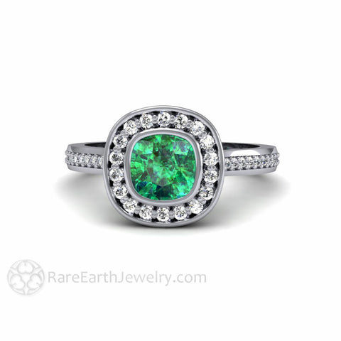 Emerald Halo Engagement Ring Bezel Set Cushion with Diamonds