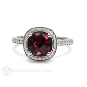 Rare Earth Jewelry Cushion Rhodolite Garnet Ring 14K or 18K Gold Diamond Halo
